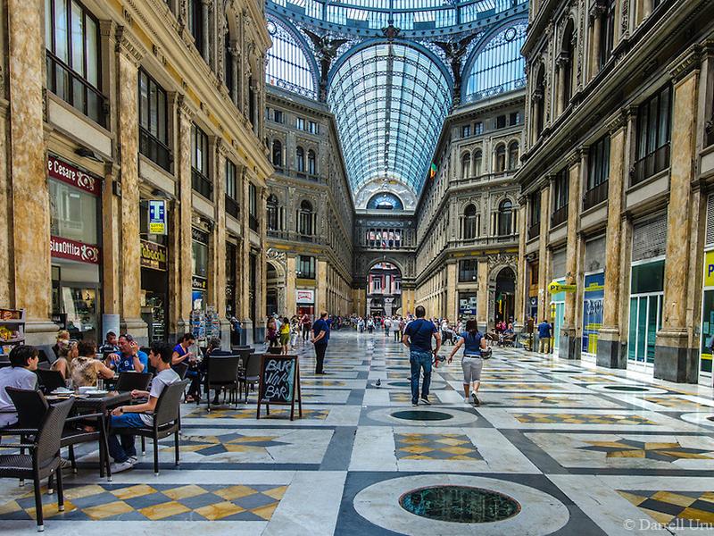 Architectural Interior of the Galleria Umberto I in Naples Italy.