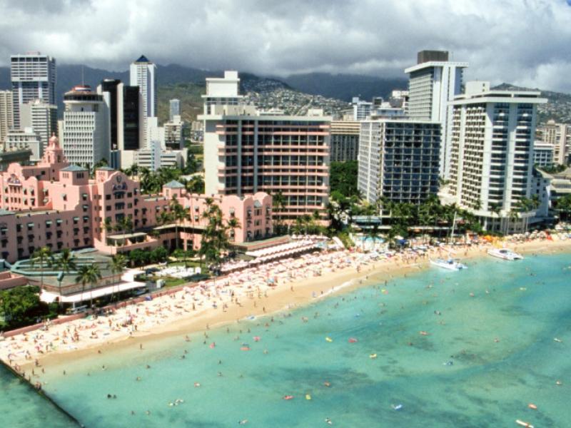 Hawaii, Oahu, Honolulu And Waikiki, Aerial View Of Royal Hawaiian Hotel.